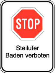 HALT! Steilufer - Baden verboten