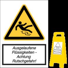 Ausgelaufene Flüssigkeiten - Achtung Rutschgefahr!