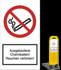 Ausgelaufene Chemikalien! Rauchen verboten!