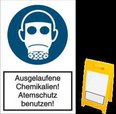 Ausgelaufene Chemikalien! Atemschutz benutzen!