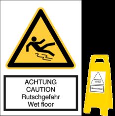 ACHTUNG CAUTION - Rutschgefahr Wet Floor