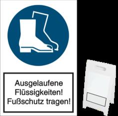 Ausgelaufene Flüssigkeiten! Fußschutz tragen!