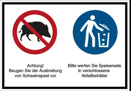 Beugen Sie der Ausbreitung von Schweinepest vor - Abfallbehälter benutzen